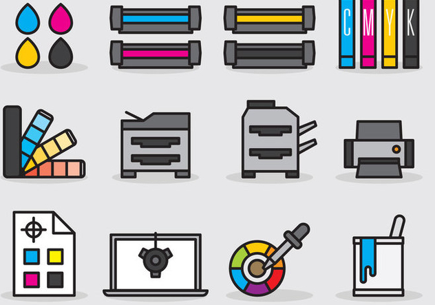 Cute Printing Icons - Kostenloses vector #391815
