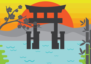 Free Illustration of Torii Gate - vector gratuit(e) #392545
