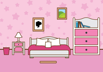 Free Girls Room Vector Illustration - Kostenloses vector #392665