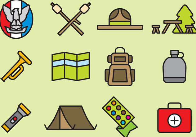 Cute Boy Scout Icons - Free vector #392905