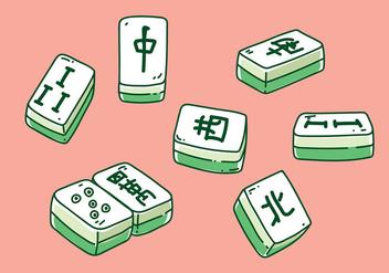 Mahjong Hand Drawn Vector - Free vector #393075