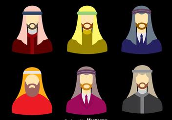 Arabic Men With Keffiyeh Vector Set - Free vector #393355