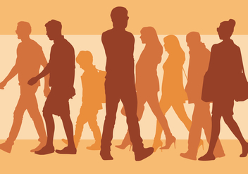 Walking People Silhouette - бесплатный vector #394075