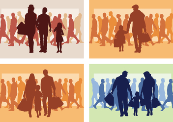Family Shopping Silhouette - vector gratuit #394205