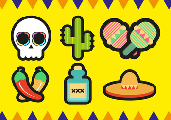 Mariachi Mexican Minimalist Icons Vector - Free vector #394225
