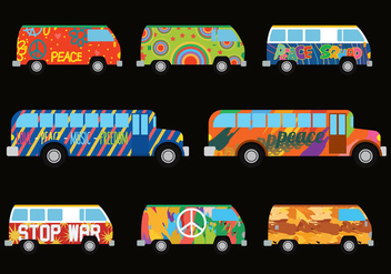 Hippie Bus Vector - Free vector #394265
