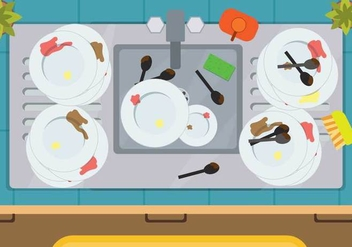 Free Dirty Dishes Illustration - vector gratuit #394315