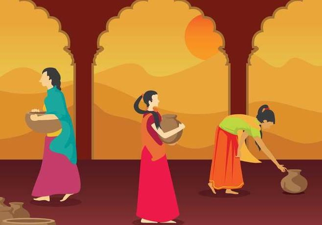 Free Indian Woman Illustration - Free vector #394335