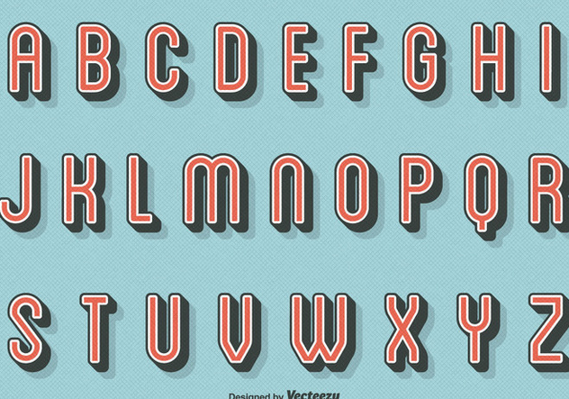 Free Vector Retro Letters - Free vector #394355