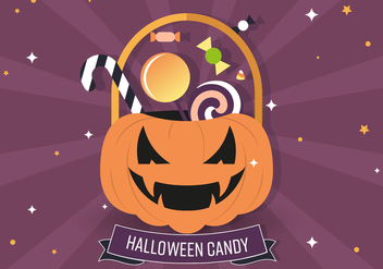 Jack-o-lantern Candy Bag Vector Illustration - Free vector #394365