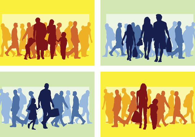 Family Shopping Silhouette - Free vector #394405
