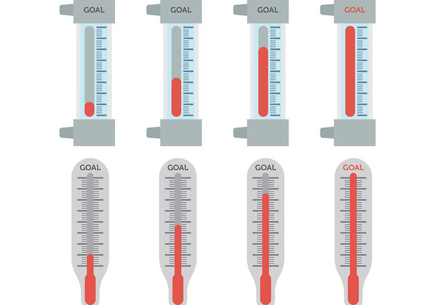 Free Goal Thermometer Icons Vector - Free vector #394615