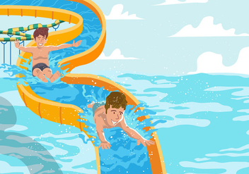 Water Slide On Swimming Pool - бесплатный vector #394865