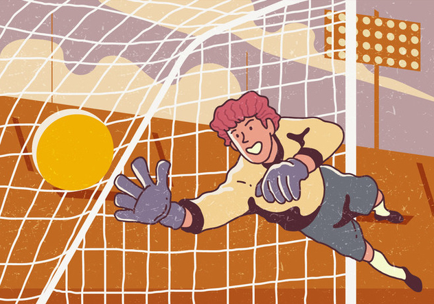 Goal Keeper Catches The Ball - Free vector #394875