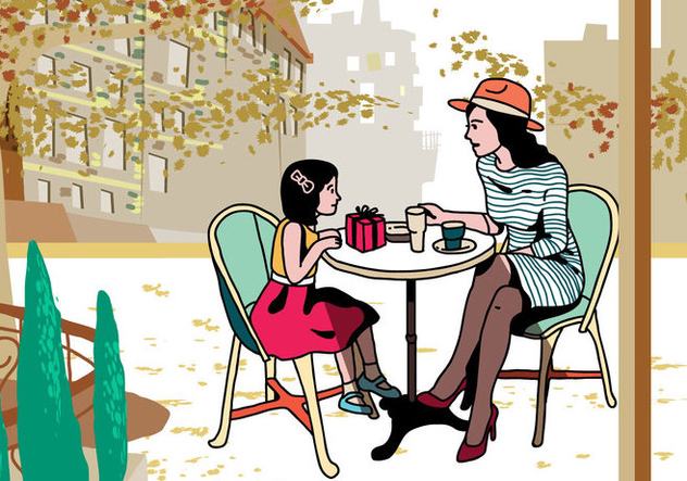 Mom And Child Eating Together Vector - Free vector #394885