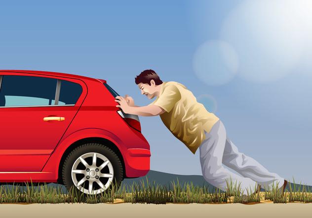 Vector Man Pushing A Car - Free vector #394955