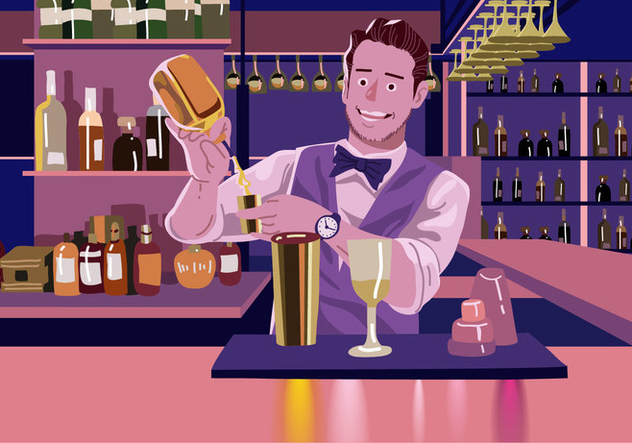 Vector Barman Making A Drink - Free vector #394985