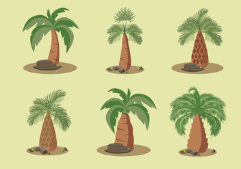 Palm oil trees vector illustration - Free vector #395225