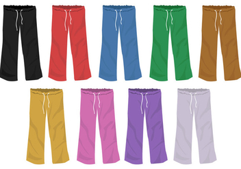 Set Of Full Color Templates Sweatpants Blank Design - Free vector #395245