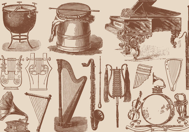 Classic Music Instruments - Free vector #395295