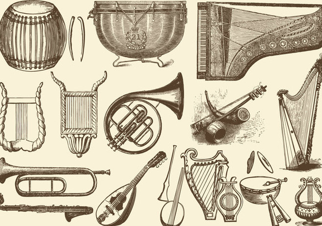 Vintage Orchestra Music Instruments - Free vector #395305