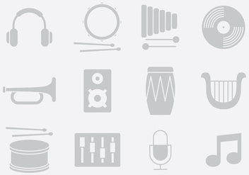 Gray Music And Sound Instruments - vector gratuit #395325