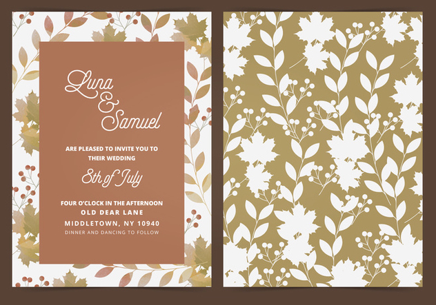 Vector Fall Leaf Wedding Invite - Free vector #395455