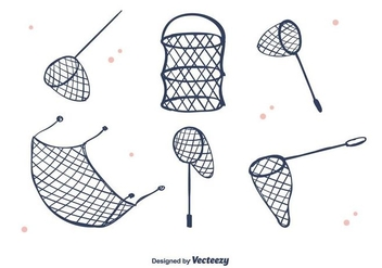 Hand Drawn Fish Net Vector - vector gratuit(e) #395575