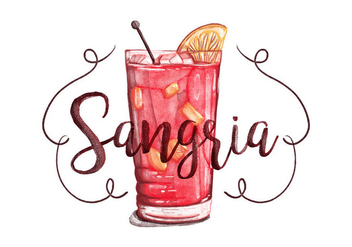 Free Sangria Watercolor Background - vector gratuit #395695