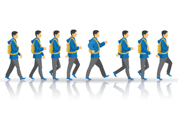 Free Teen Boy Walking Cycle Vector - бесплатный vector #395965