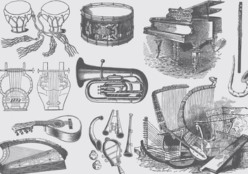 Vintage Music Instruments - Free vector #395985