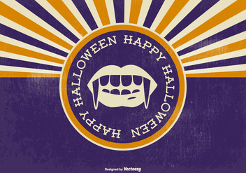 Retro Sunburst Halloween Illustration - Free vector #396255