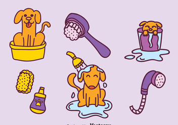 Hand Drawn Dog Washing Vector Set - Kostenloses vector #396685