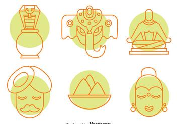 India Culture Element Icons Vector Set - Kostenloses vector #396735
