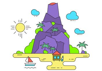 Volcano Vector Island - Kostenloses vector #396955