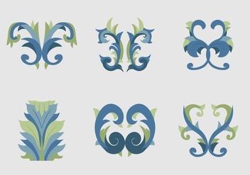 Acanthus flat design blue floral vectors - Free vector #397185