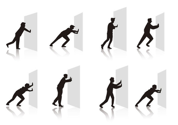 Free People Pushing Wall Vector - vector gratuit #397475