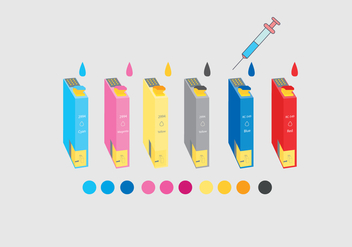 Ink Cartridge Colorful Vector - vector gratuit(e) #397645