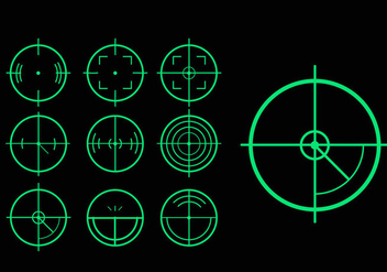 Green target laser tag variation vector pack - Free vector #397695