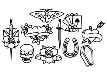 Old School Tattoo Vector Pack - Free vector #397965