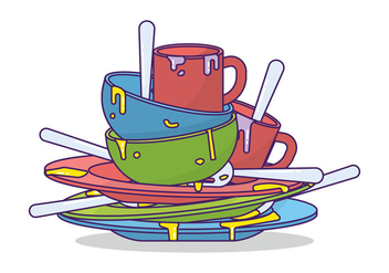 Dirty Dishes Vector - vector #398385 gratis