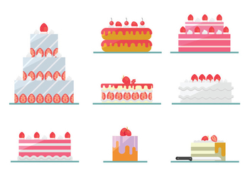 Strawberry Cake Vectors - Free vector #398395