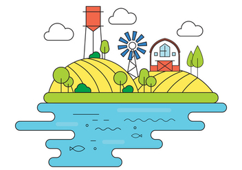 Farm Vector Illustration - Free vector #398525