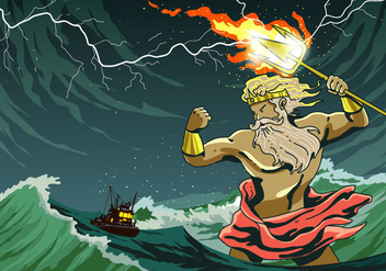 Poseidon Attack A Ship - Free vector #398605