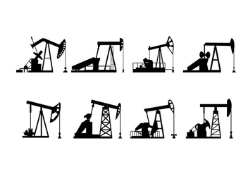Oil Field Pump Silhouette Vector - Free vector #398985
