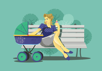 Babysitter on a Bench Vector - vector gratuit #399015