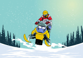 Riding Snowmobile Vector - Free vector #399135