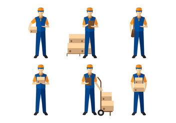 Delivery Man Figure Vector - Free vector #399245