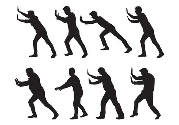 Free Man Pushing Silhouettes Vector - Kostenloses vector #399735