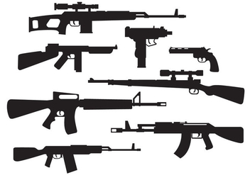 Free Military Weapons Silhouette Vector - Kostenloses vector #399845